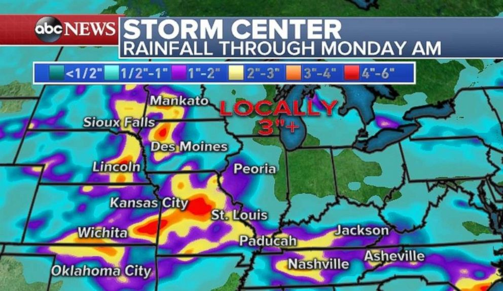 Rainfall through Monday in parts of the Midwest may top 4 inches.