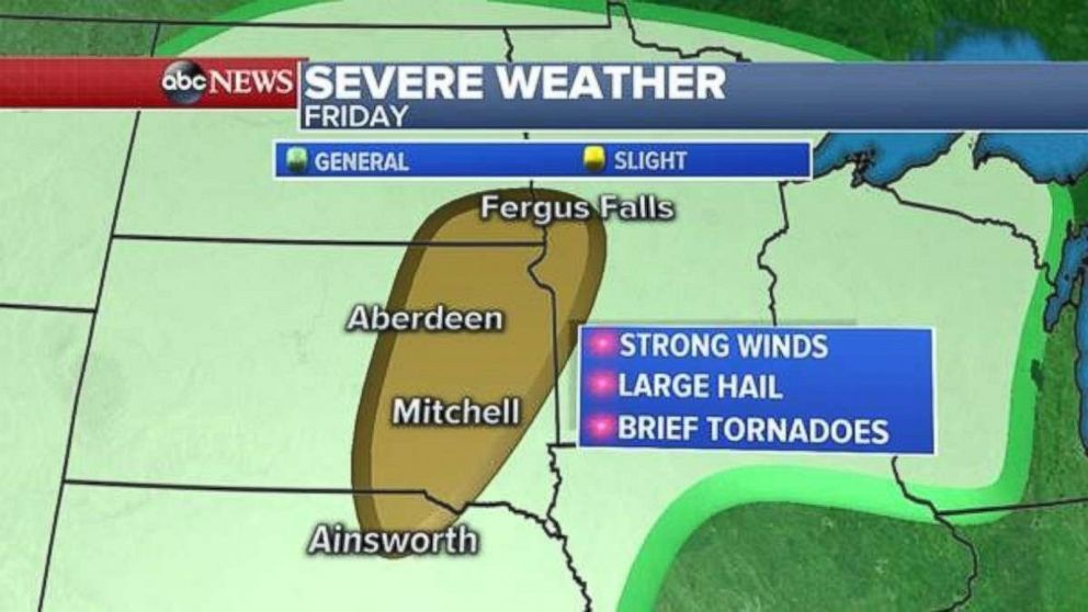 Severe weather is likely in parts of the Midwest today.