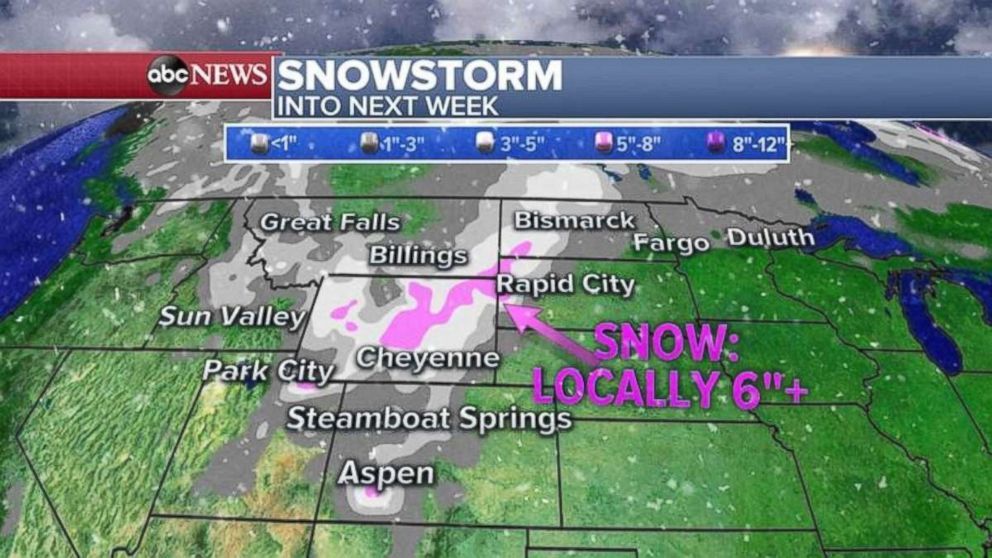 The upper Midwest may see significant snowfall into next week.