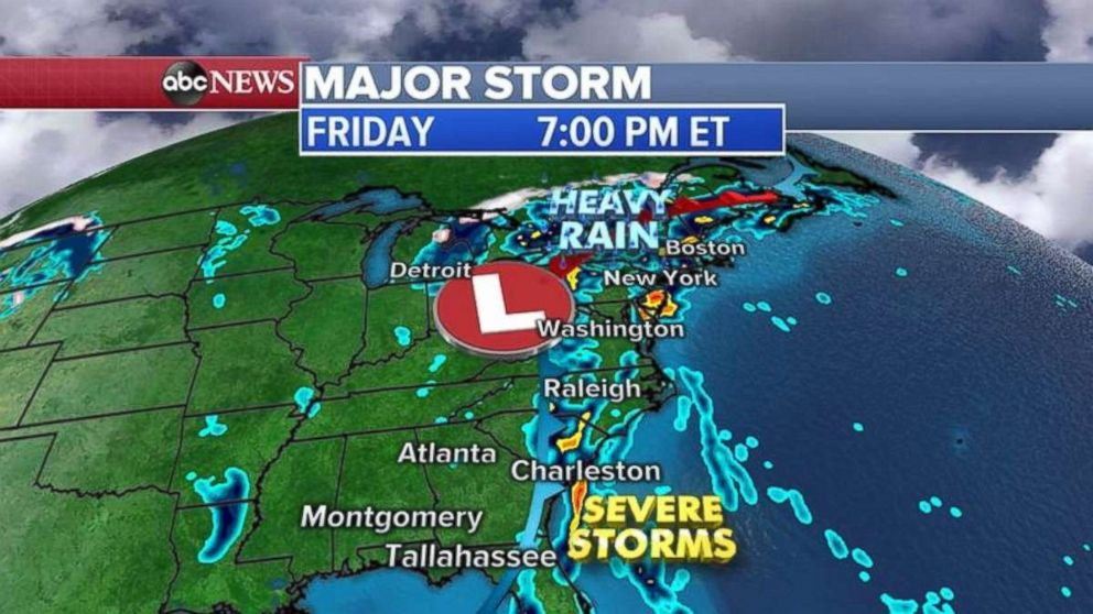 The Northeast could see some heavy rain on Friday.