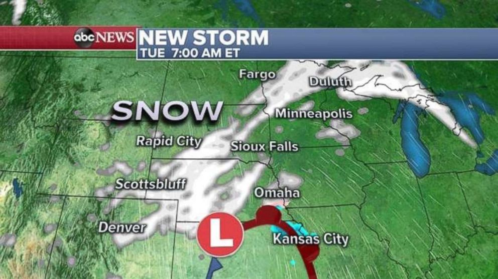 Another storm is forecast to take form tomorrow over the Midwest.