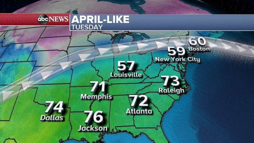 In the Southeast today, it should feel like springtime.