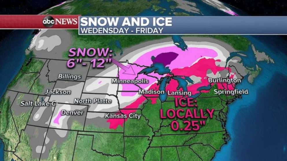 Parts of the upper Midwest may see a foot of snow through Friday.