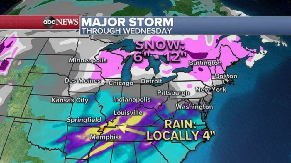 Some areas could see a foot of snow through Wednesday.