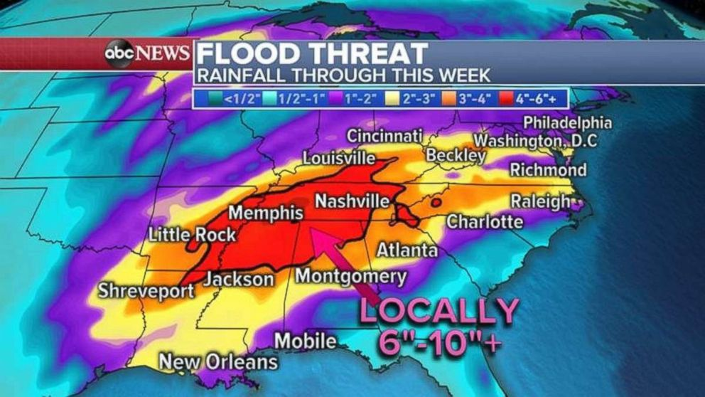 More than 4 inches of rain is possible in parts of the Mississippi River Valley.