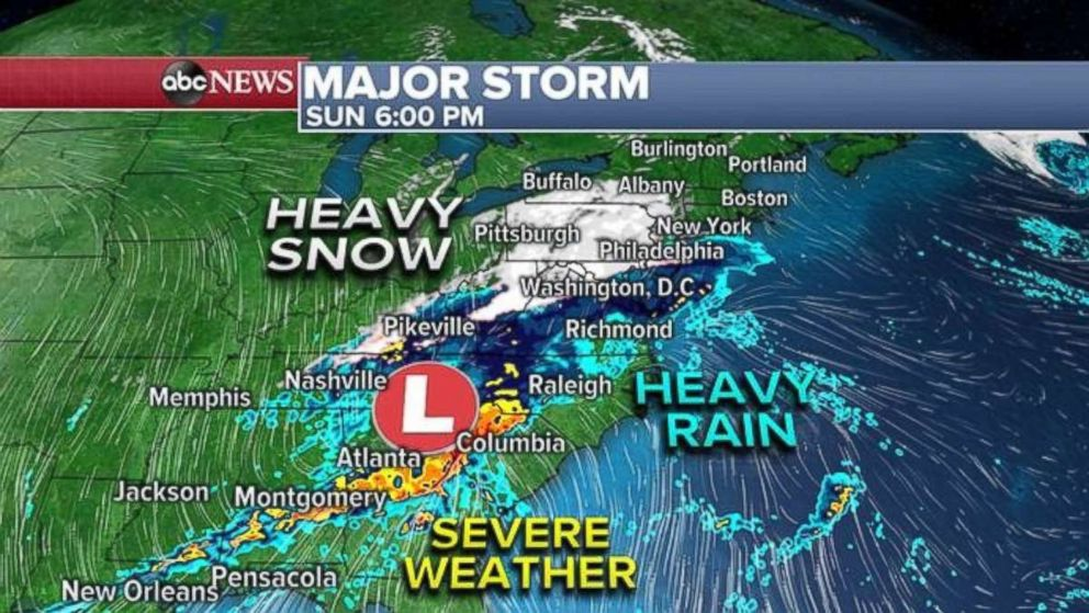 PHOTO: Up and down the East Coast, rain and snow will be falling Sunday.