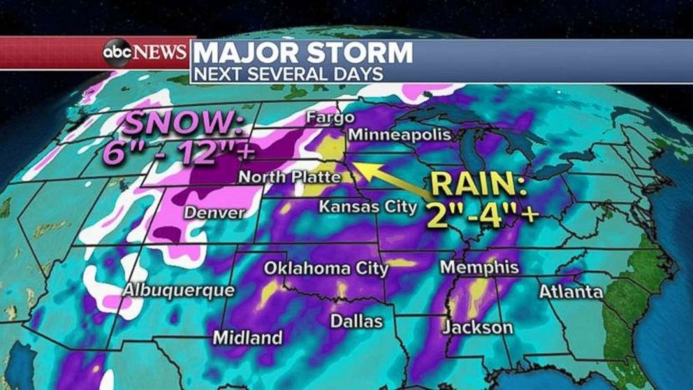 PHOTO: Lots of rain and snow are in the forecast over the next few days.