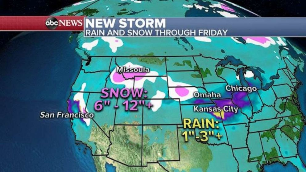 Some areas may see a foot of snow through Friday.