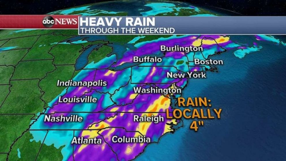 PHOTO: Some spots may see 4 inches of rain over the weekend.