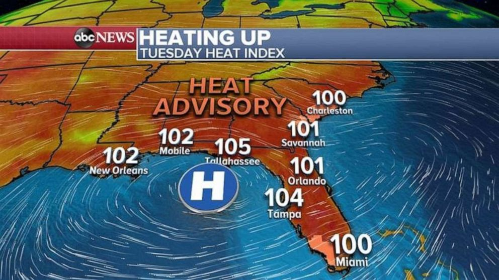 PHOTO: The Heat Index on Tuesday will top triple digits throughout the Southeast.