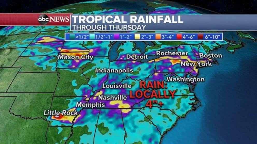 PHOTO: Rainfall in the eastern U.S. should continue through Thursday.