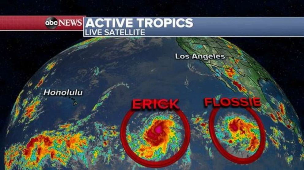 PHOTO: Satellites are tracking Erick and Flossie in the Pacific.