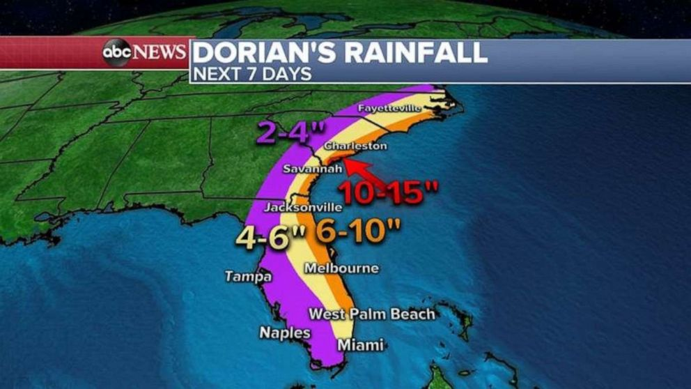 PHOTO: Dorian is expected to drench the Southeast over the next week.
