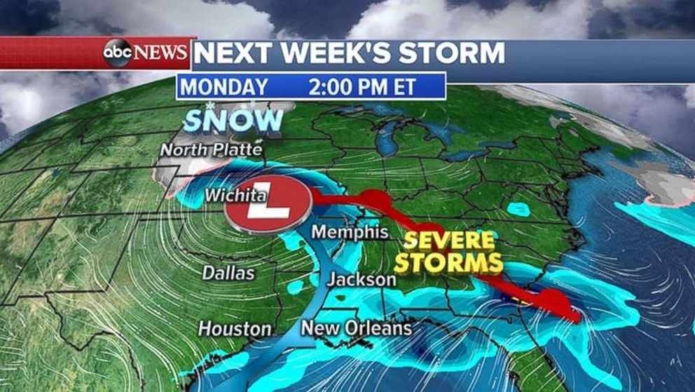 A strong storm likely will threaten the central and southern U.S. on Monday.