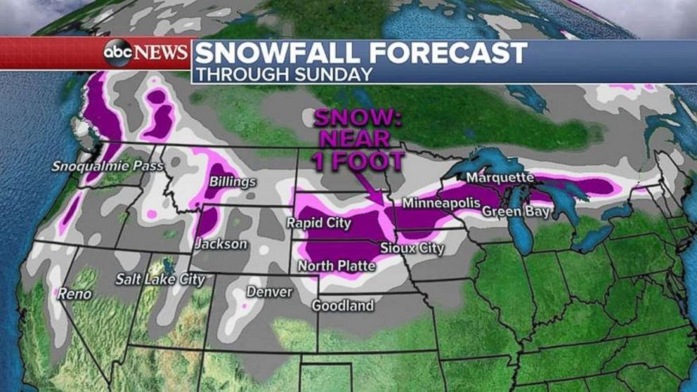 Parts of the Midwest will see almost a foot of snow through Sunday.