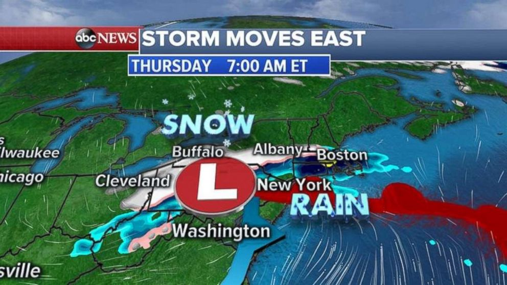A storm is expected to arrive in the Northeast Thursday morning.