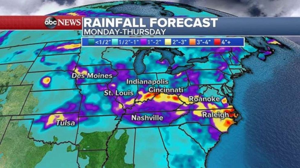 Heavy rainfall is expected through Thursday for much of the Midwest and East.