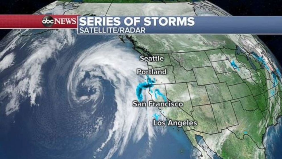 A series of storms is approaching the West Coast.