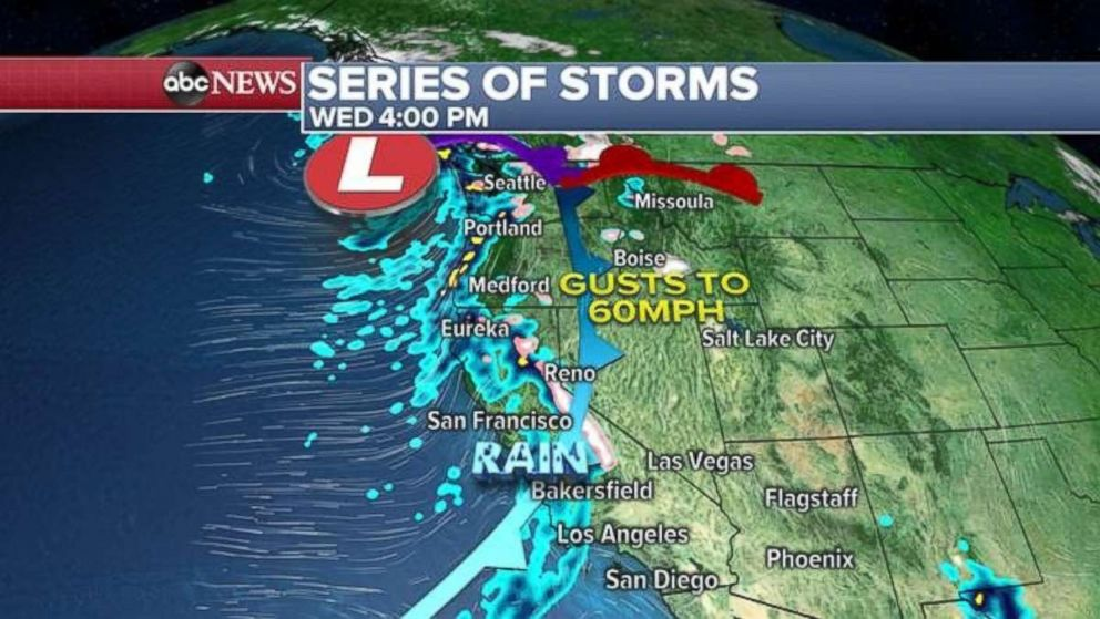 Another storm is hitting the West Coast today.