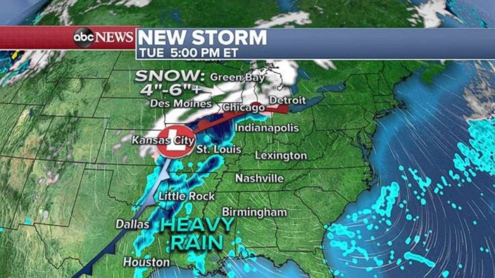 The new storm is forecast to deliver heavy snowfalls and rainfalls to much of the U.S.
