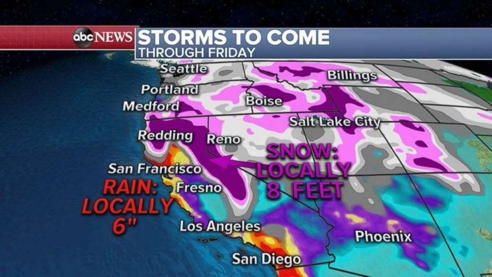 More storms are expected out West through Friday.