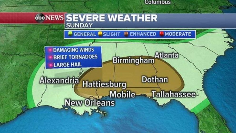 PHOTO: Severe weather is expected Sunday across much of the South.