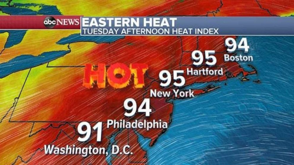 PHOTO: Highs along the East Coast on Tuesday are forecast in the mid-90s.