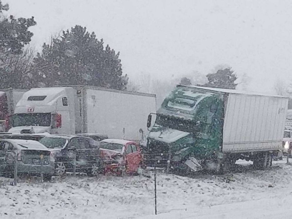 PHOTO: Westbound I-94 is closed after a multiple-vehicle pileup due to whiteout conditions in Leoni Township, Mich., March 9. 2018.