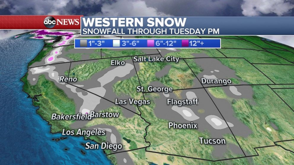 Significant snowfall is expected through tonight in at least a half-dozen western states.