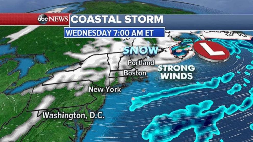 Gusty winds are expected Wednesday morning in New England.