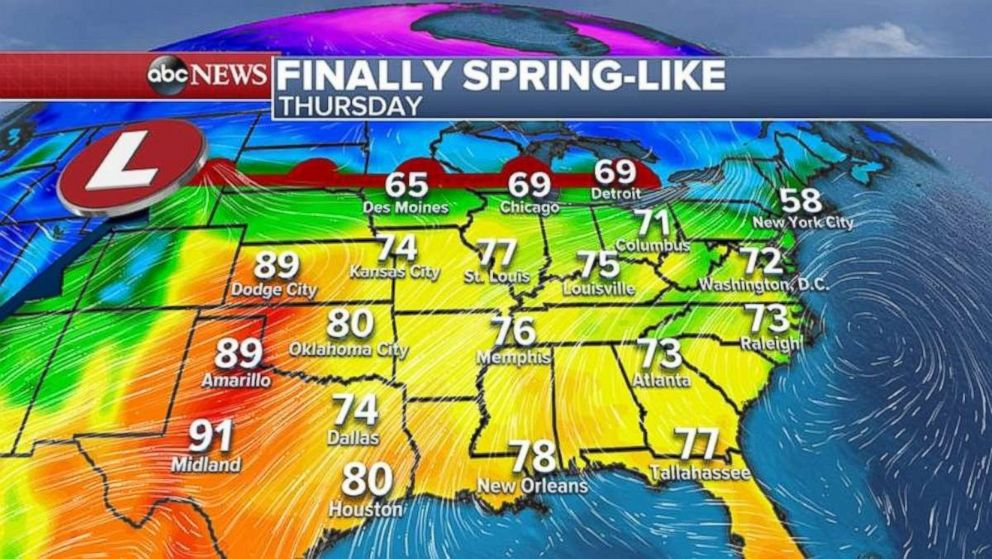 Parts of Texas will see temperatures in the 90s today as spring finally arrives.