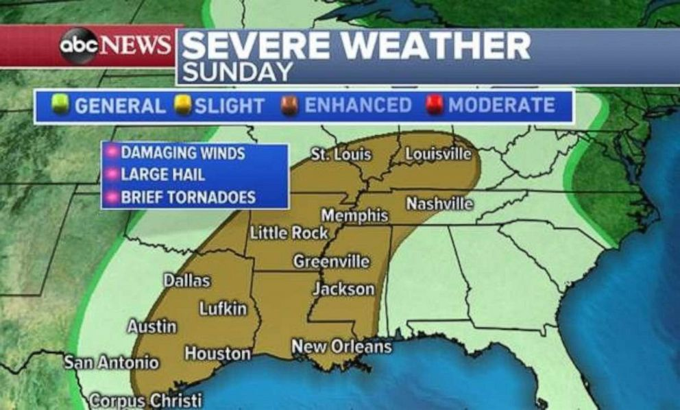 Severe weather is expected Sunday throughout much of the South and Midwest.