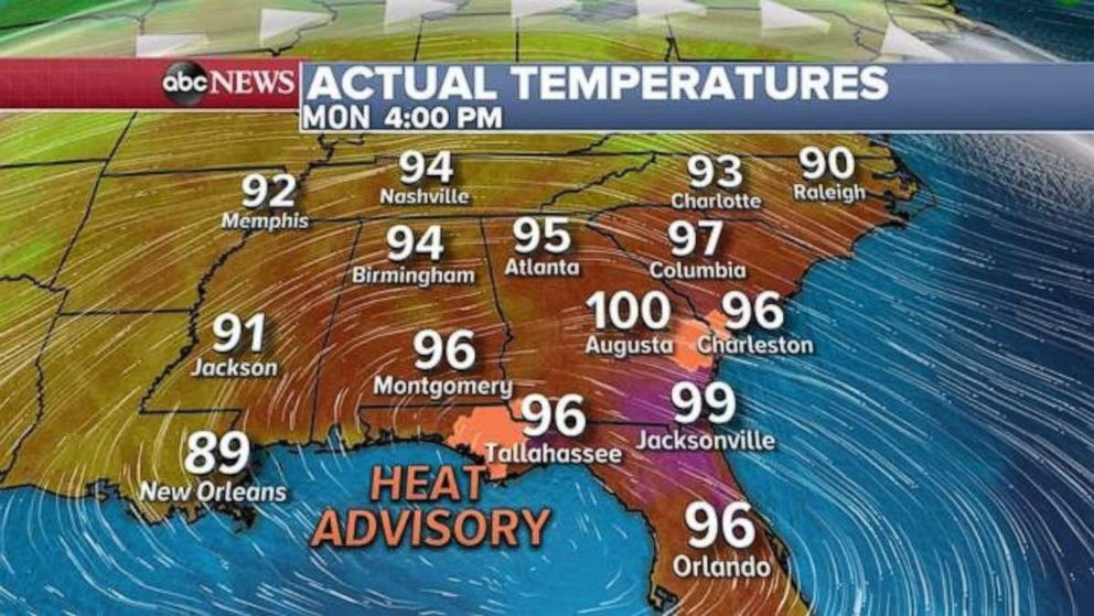 PHOTO: The Southeast is expecting scorching temperatures this afternoon.