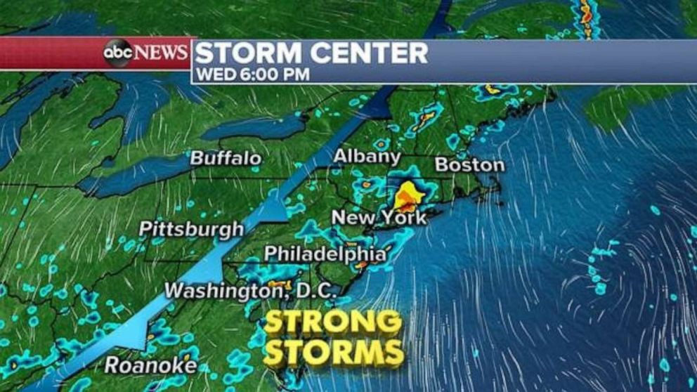 PHOTO: The East Coast is expecting strong storms Wednesday evening.