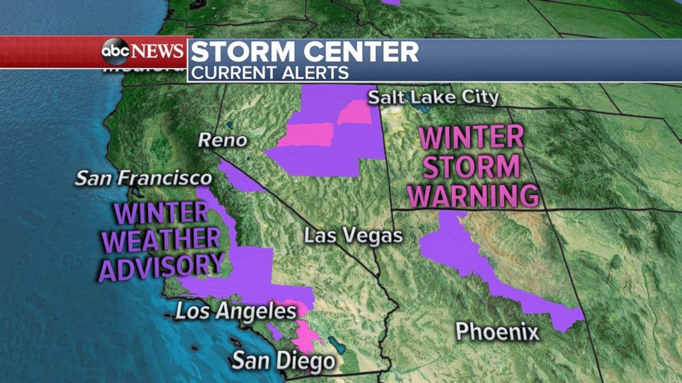 Storm warnings are still in effect for parts of California, Nevada and Arizona.