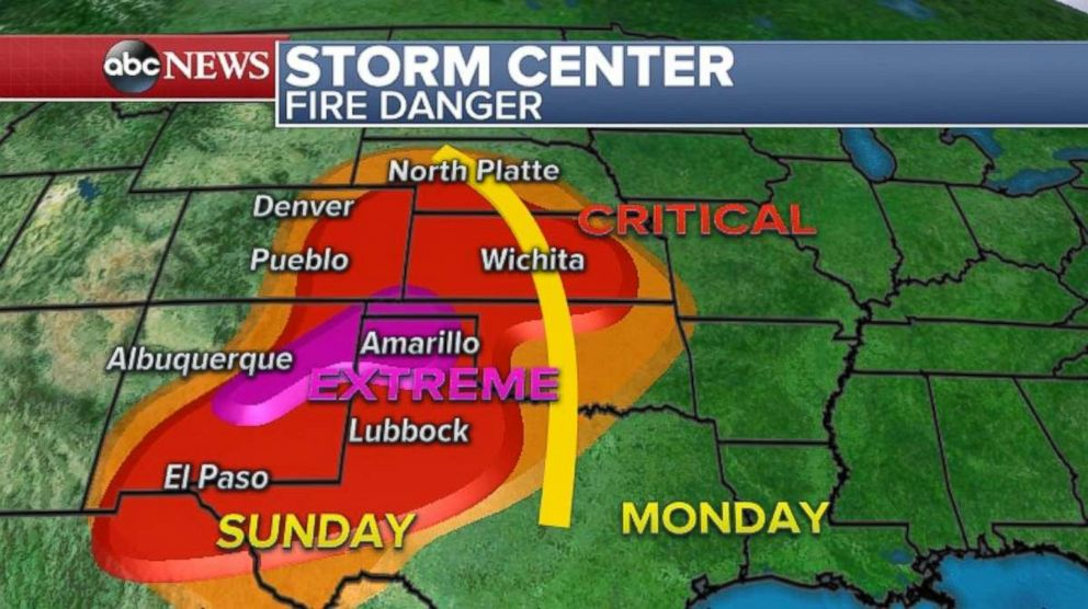 Parts of the plains stretching from Texas to Nebraska are very dry and in danger of fire of the next 24-36 hours.