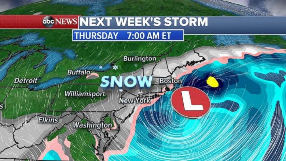 Heavy snow may be possible along the Eastern seaboard next week.