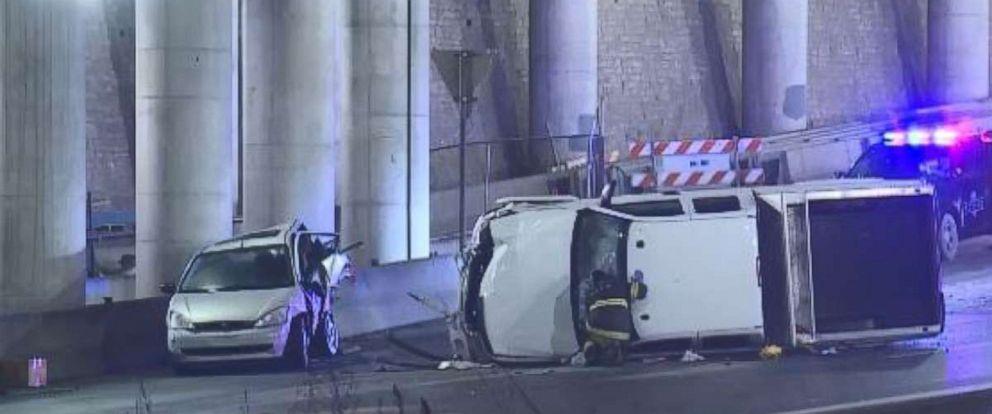Icy roads caused wrecks in Kansas City, Missouri.