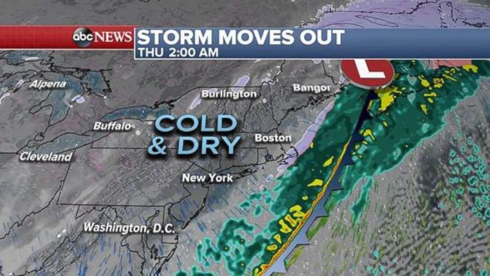PHOTO: The storm moves out quickly and by 2 a.m. Thursday is off the east coast with colder but drier air filtering in.