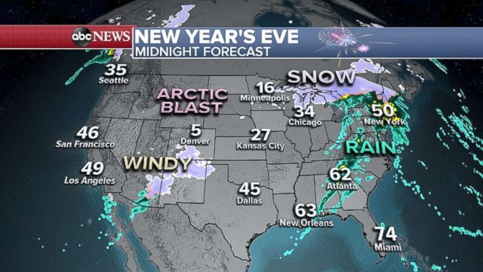 PHOTO: Aside from the East Coast, much of the rest of the country will be rather quiet as 2019 begins.