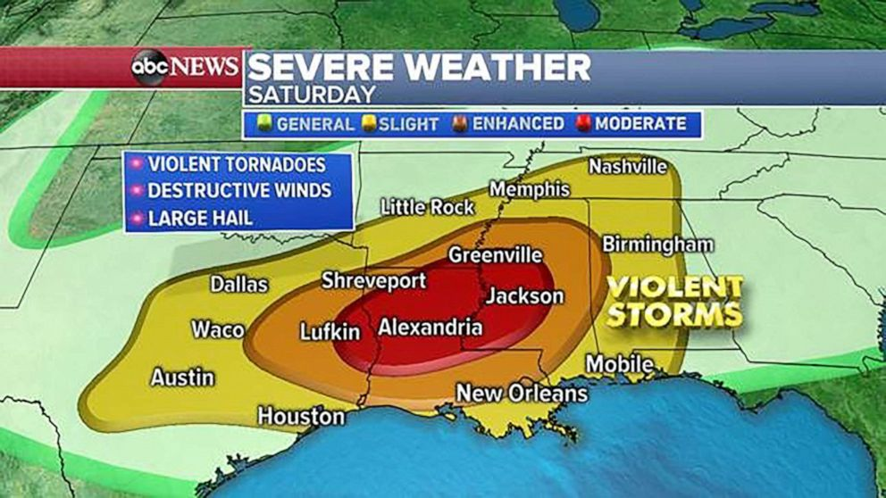 Major severe storms, tornado outbreak in Deep South kills 2