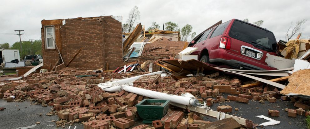 PHOTO: The leveled house of Delores Anderson is viewed Friday, April 19, 2019, after a tornado touched down in Franklin County, Va.