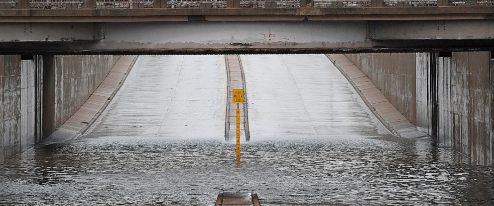 PHOTO: The underpass on north Grand is closed due to high water in Enid, Oklahoma, Monday, May 20, 2019.
