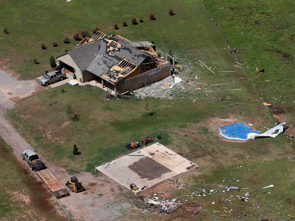 PHOTO: A house damaged in a tornado, May 20, 2019, in Mangum, Okla., is pictured from the air, May 21. A strong band of storms has spawned more than 30 tornadoes across the central U.S.