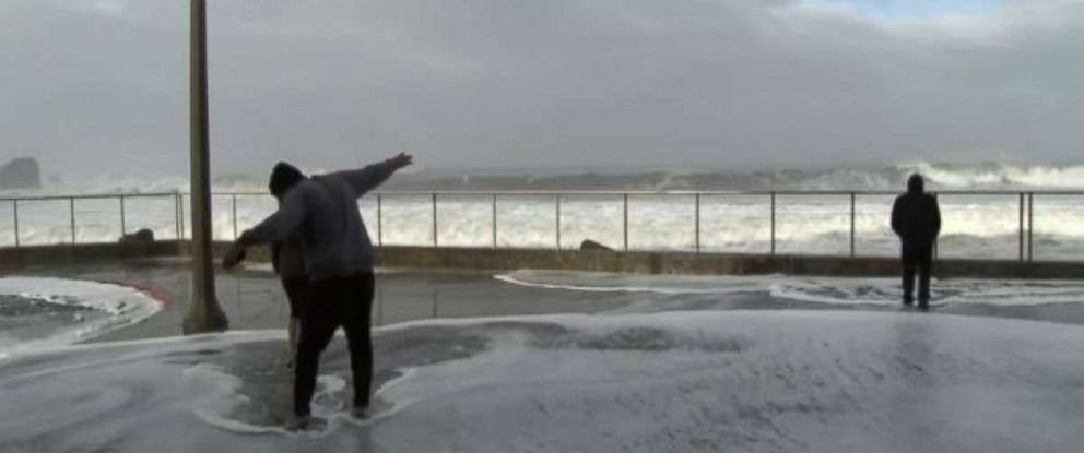 High surf and waves battered the California coast as storms approached.
