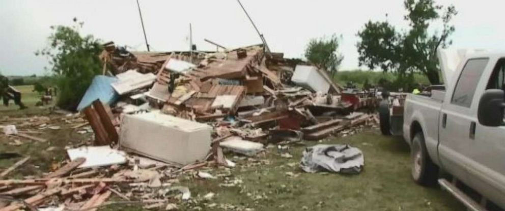 PHOTO: Tornado damage is seen in Oklahoma on Saturday.