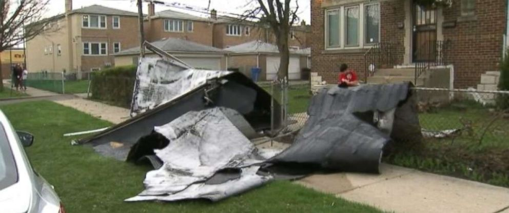 A rooftop on a Chicago home was ripped apart, one of the effects from the severe weather outbreak.