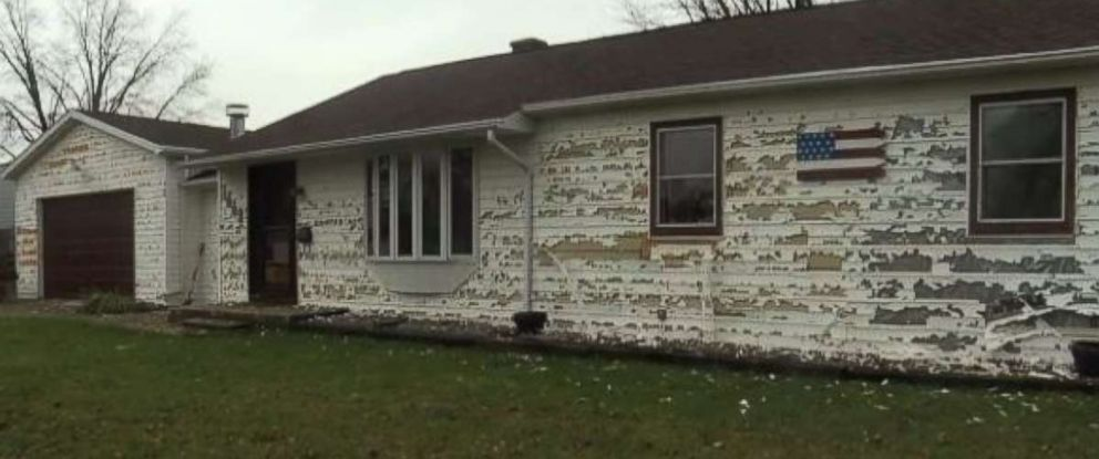 Large hail ripped apart the siding on this home in Wisconsin.