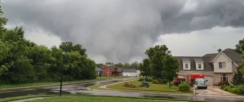 PHOTO: A tornado is seen near South Bend, Indiana, on Sunday, June 23.
