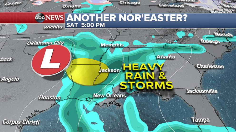 PHOTO: Weather map showing the possibility of another Noreaster affecting the northeast. A storm system will move across the Southeast Saturday into Sunday bringing severe weather and heavy rain for parts of the South.